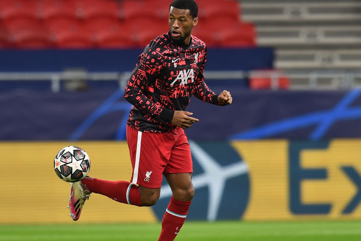 Georginio Wijnaldum of Liverpool before the UEFA Champions League Round of 16 match between Liverpool FC and RB Leipzig at on March 10, 2021 in Budapest, Hungary.