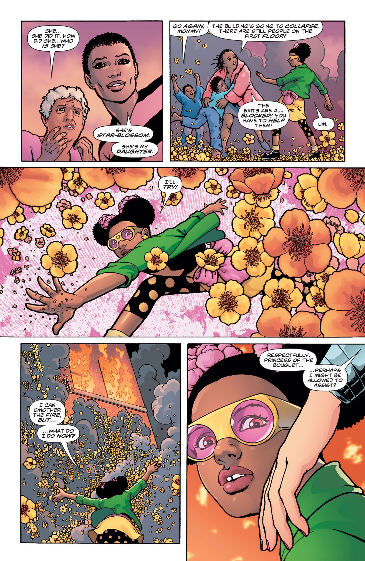 Star-Blossom saves a family from an apartment fire and attempts to smother the flames, when she feels a tap on her shoulder from Wonder Woman, in Wonder Woman #750, DC Comics (2020).
