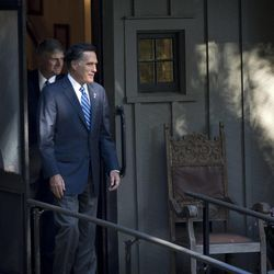 Republican presidential candidate, former Massachusetts Gov. Mitt Romney, followed by Franklin Graham leaves the home of Rev. Billy Graham after a meeting with Rev. Graham, Thursday, Oct. 11, 2012, in Montreat, N.C.  (AP Photo/ Evan Vucci)