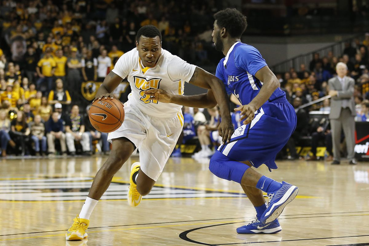 VCU Guard Treveon Graham (#21) scored 16 points in the 74-54 victory against the Saint Louis Billikens on Tuesday, Feb. 17th, 2015