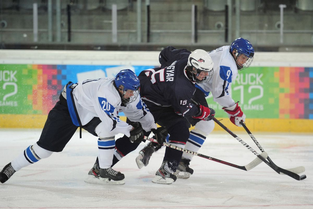 Nick Magyar is seen here in action for Team USA against Finland in international ice hockey competition.