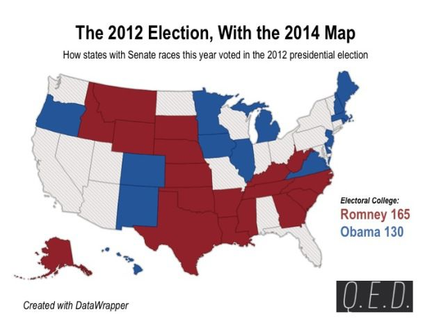 If the 2012 election was only in the states voting for Senate today ...