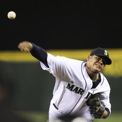 Seattle Mariners starting pitcher Felix Hernandez throws against the Baltimore Orioles in the first inning of a baseball game, Wednesday, Sept. 19, 2012, in Seattle.