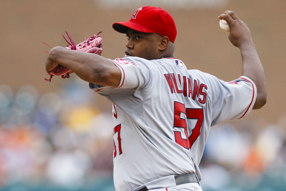 July 19, 2012; Detroit, MI, USA; Los Angeles Angels starting pitcher Jerome Williams (57) pitches during the first inning against the Detroit Tigers at Comerica Park. Mandatory Credit: Rick Osentoski-US PRESSWIRE