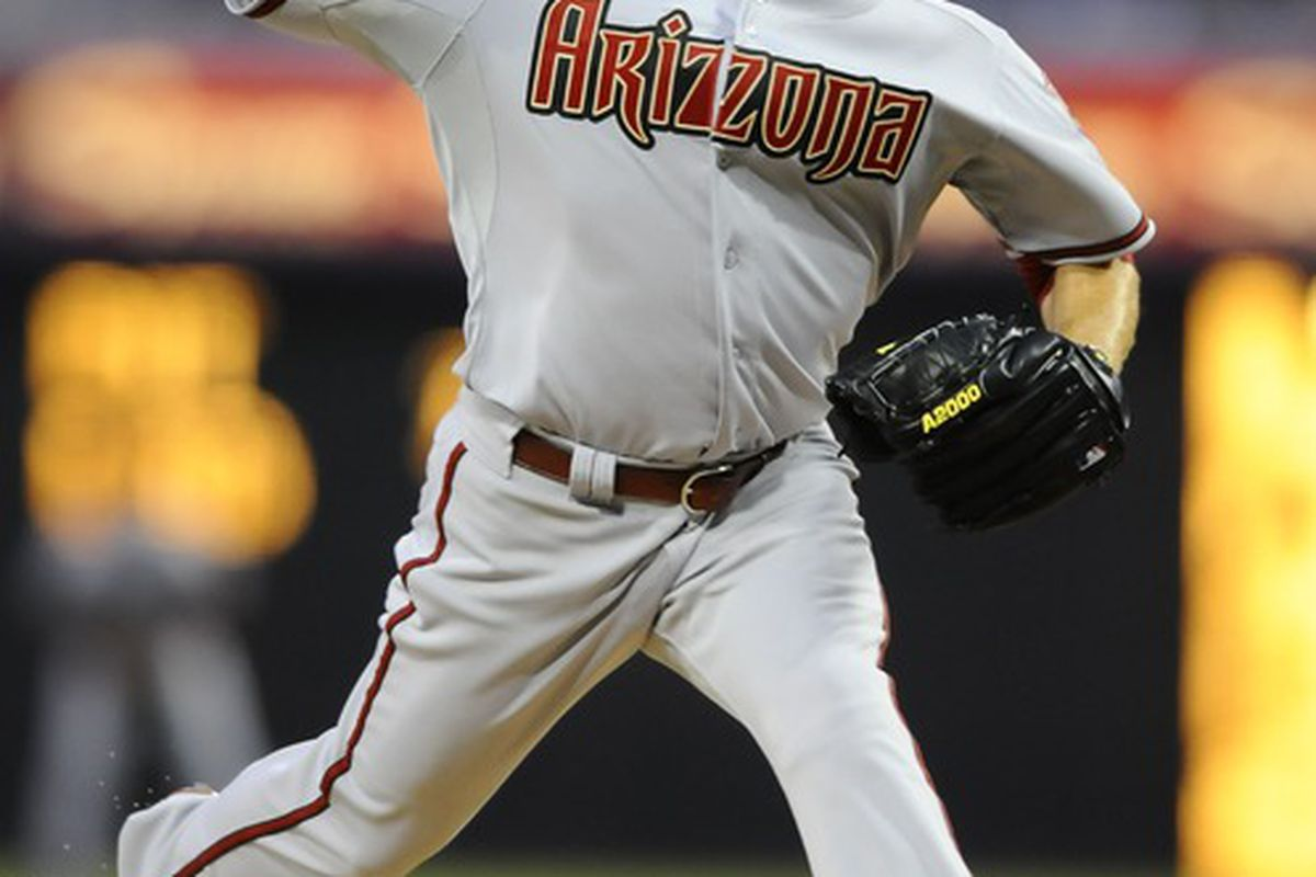 April 12, 2012; San Diego, CA, USA;  Arizona Diamondbacks starting pitcher Ian Kennedy (31) throws during the first inning against the San Diego Padres at Petco Park.  Mandatory Credit: Christopher Hanewinckel-US PRESSWIRE