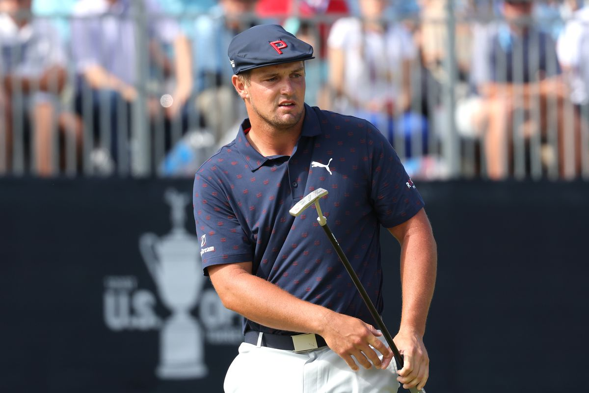 Bryson DeChambeau of the United States reacts as he putts on the 18th hole during the third round of the 2021 U.S. Open at Torrey Pines Golf Course (South Course) on June 19, 2021 in San Diego, California.