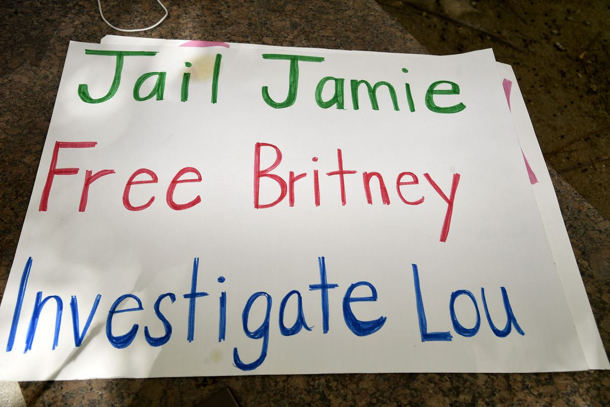 "A handwritten sign on white posterboard reads, ""JAIL JAMIE, FREE BRITNEY, INVESTIGATE LOU."""
