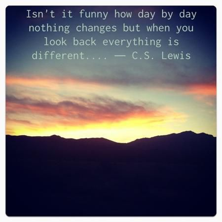 """Isn't it funny how day by day nothing changes, but when you look back, everything is different ..."" — C.S. Lewis"