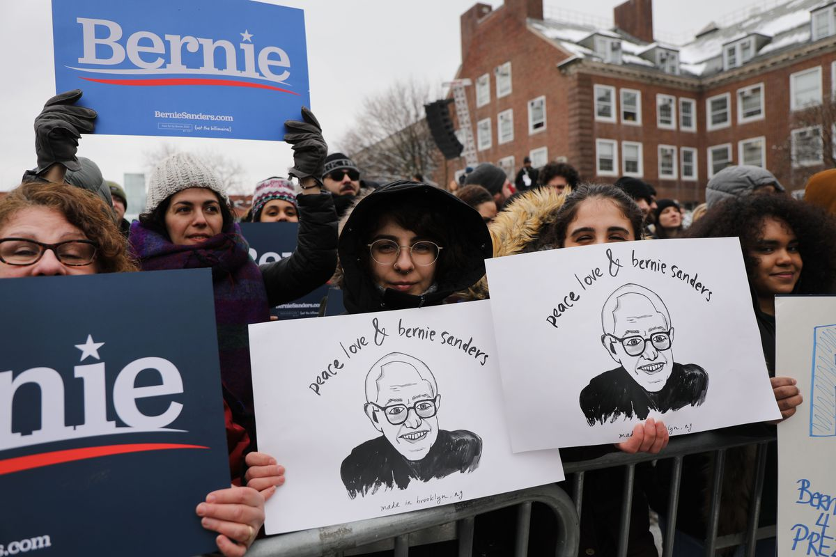 A Bernie Sanders campaign rally at Brooklyn College.