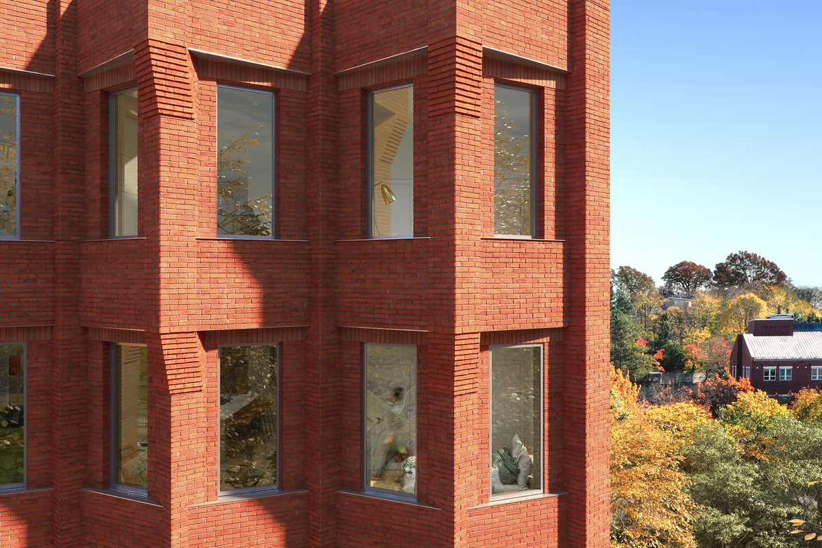 Close-up rendering of the exterior of a brick building done in sharp angles.