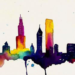 """This <a href=""""http://www.etsy.com/listing/117007424/chicago-8x10-print-of-watercolor?ref=sr_gallery_31&ga_search_query=chicago&ga_view_type=gallery&ga_ship_to=US&ga_page=4&ga_search_type=all"""">watercolor</a> is abstract enough to be interesting but literal"""