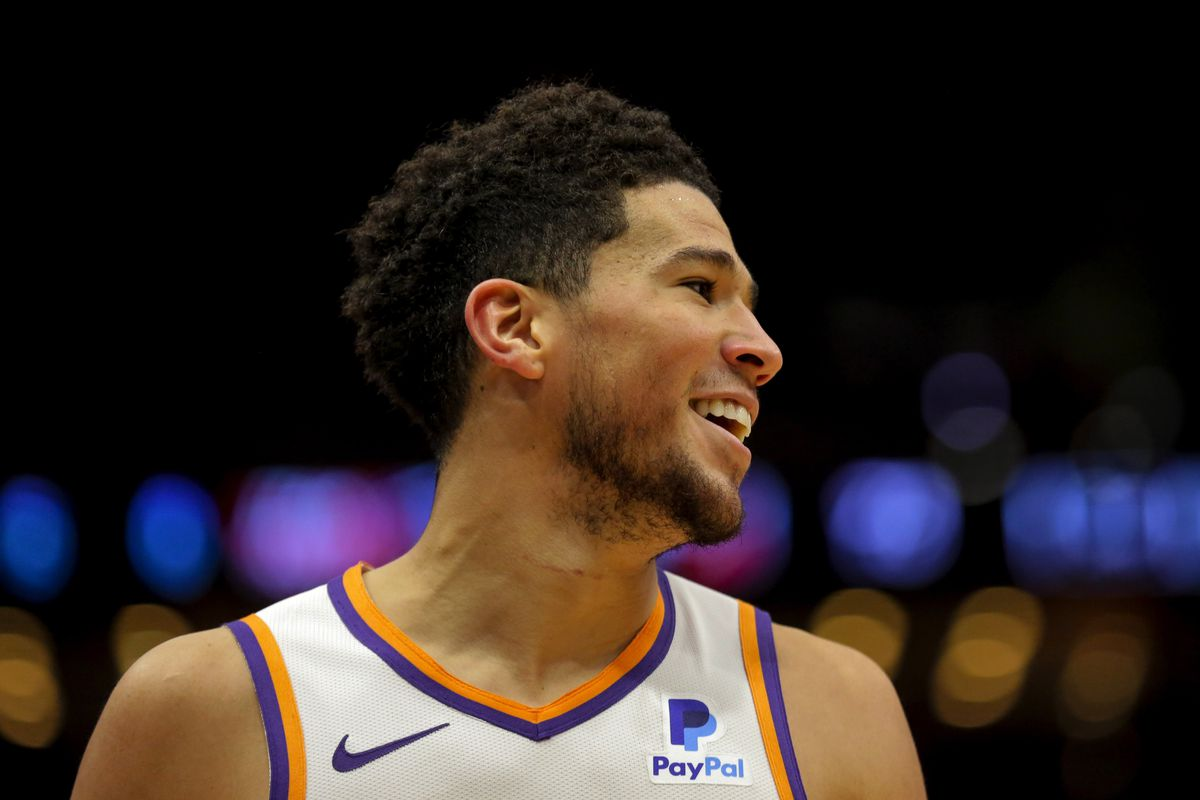 Phoenix Suns guard Devin Booker reacts during the second half against the New Orleans Pelicans at the Smoothie King Center.