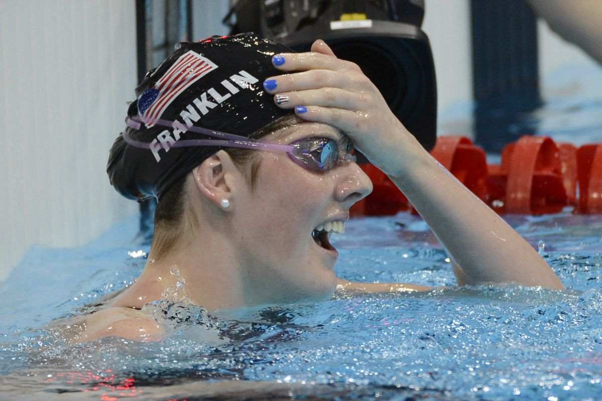 Jul 30, 2012; London, United Kingdom; Missy Franklin (USA) reacts after winning the women's 100m backstroke finals during the London 2012 Olympic Games at Aquatics Centre. Mandatory Credit: Richard Mackson-USA TODAY Sports