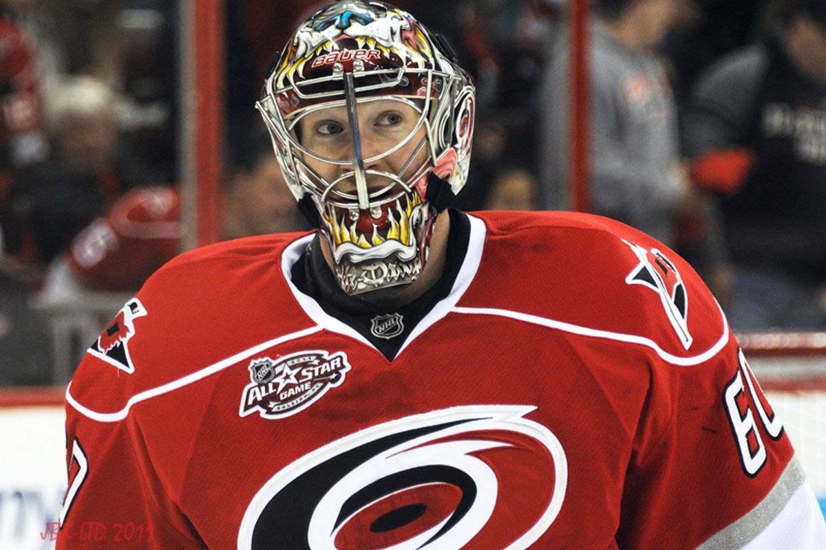 """The Hurricanes recalled goalie Justin Peters from Charlotte and reassigned Mike Murphy to the AHL. (Photo by <a href=""""http://www.flickr.com/photos/jbk-ltd/collections/72157619609115405/"""">Jamie Kellner</a>)"""