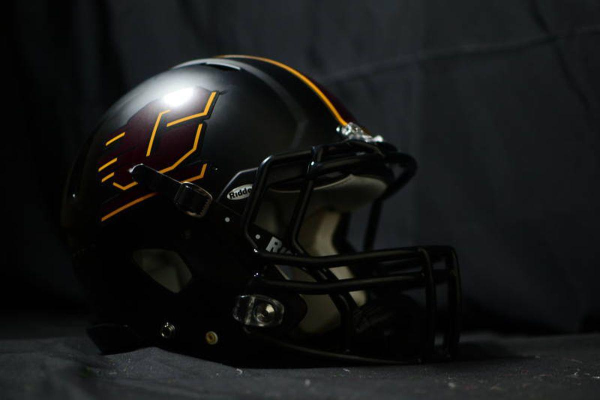 Central Michigan's new black helmet. (Kyle Terwillegar / CMU Athletics)