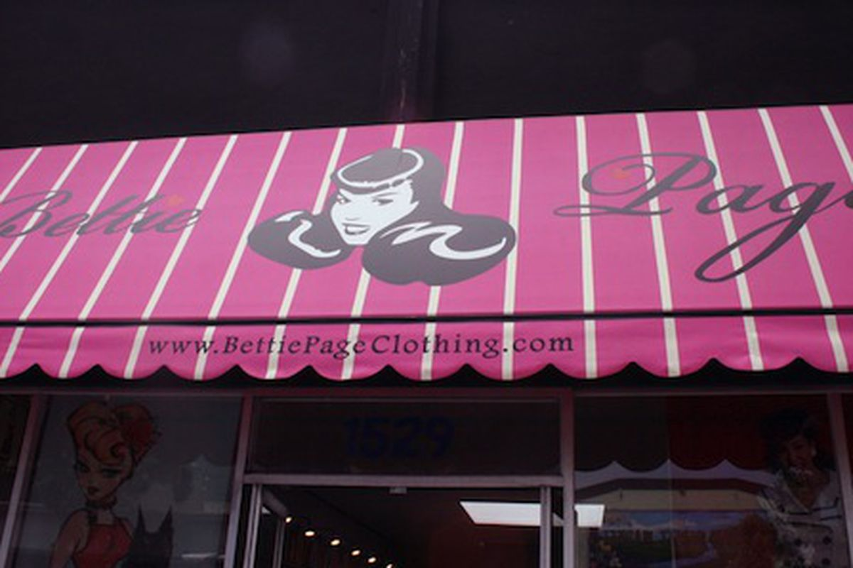 """The Bettie Page Clothing storefront in San Francisco. Image via <a href=""""http://www.dedicated-follower.com/dedicated_follower_of_fas/2010/08/better-know-your-neighborhood-vacation-edition-san-francisco.html"""">Dedicated Follower of Fashion</a>"""