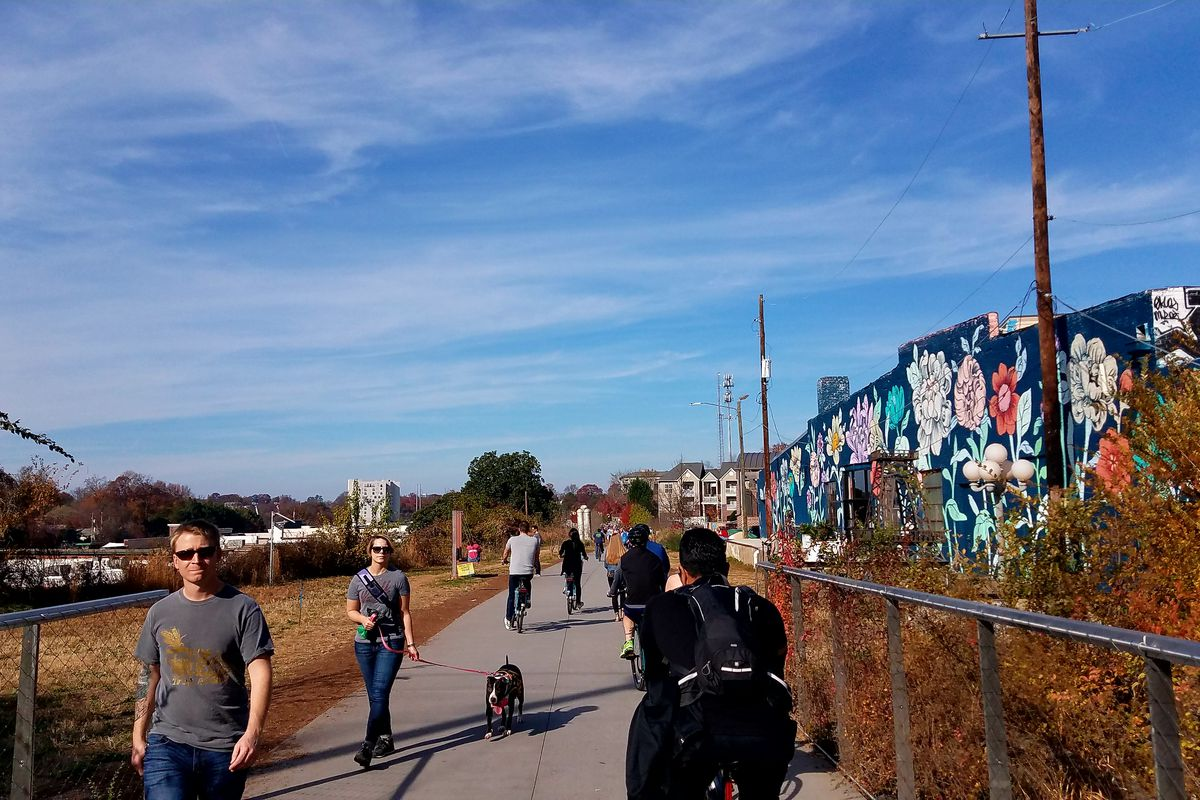 A photo of the Beltline's Eastside Trail on a recent Saturday afternoon, orderly functioning as it should.