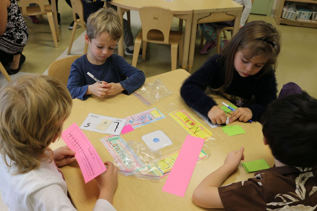 Kindergarten students at Brooklyn School of Inquiry learn to read number lines.