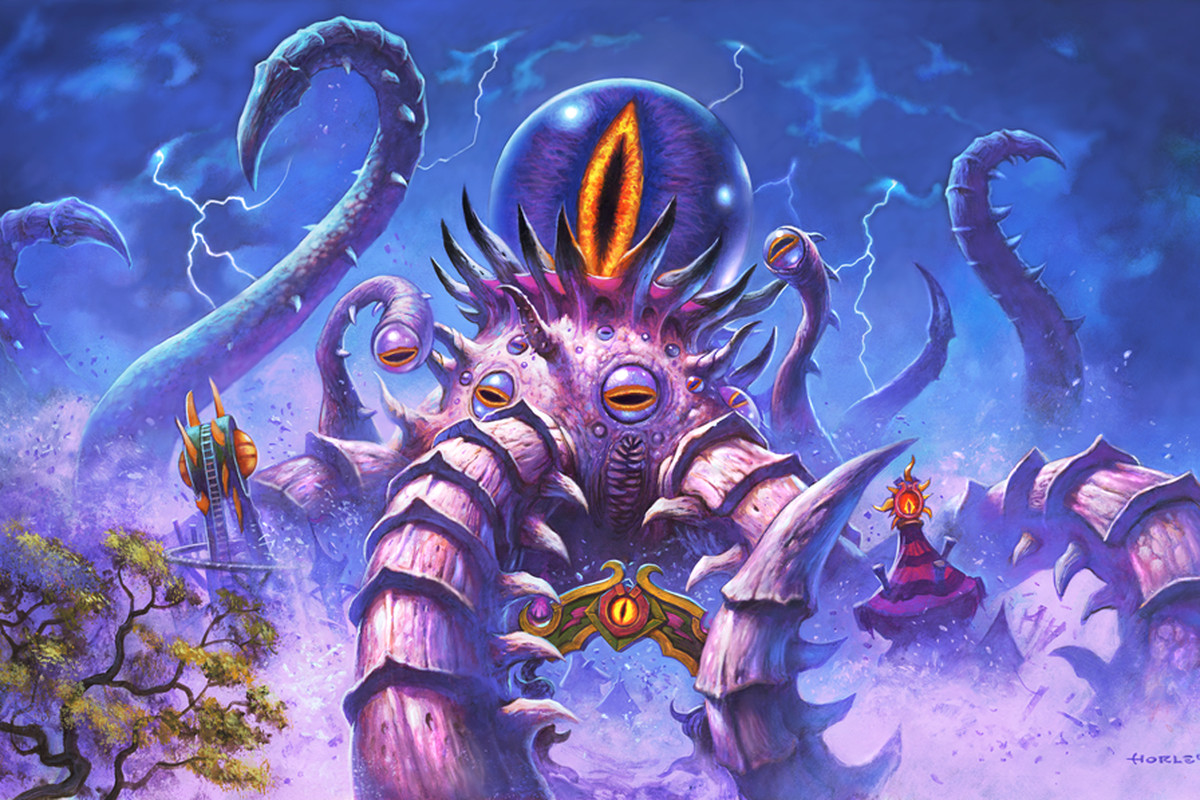 Hearthstone - the Old God C'Thun emerges from the Darkmoon Faire, smashing things with his tentacles
