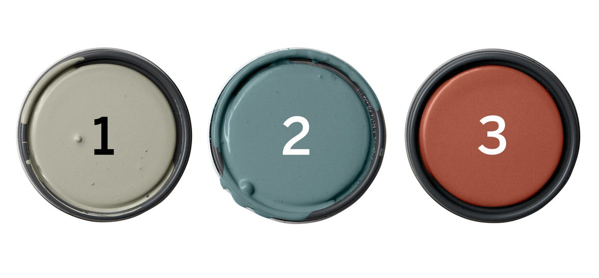 Farrow & Ball Paints: Lamp Room Gray; Stone Blue; Picture Gallery Red