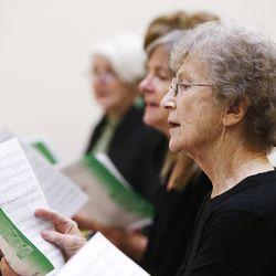 Nancy Miles sings during the Encore Chorale Choir practice in Salt Lake City Nov 21, 2013.