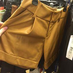 Sample tan leather shorts, $99