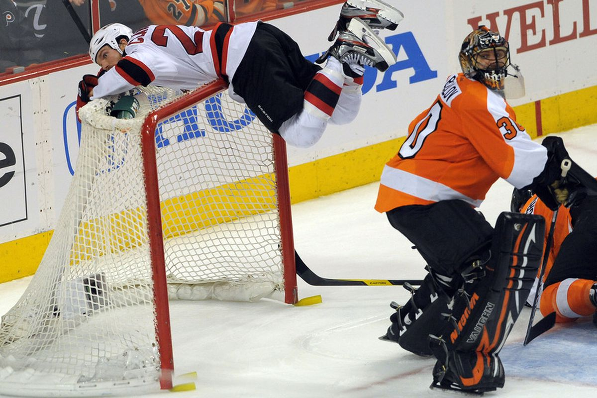 There's no analysis needed here; this was David Clarkson's best goal celebration from his 2011-12 campaign.  Mandatory Credit: Eric Hartline-US PRESSWIRE