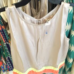 Open-back top with fringe detail, $75 (was $163)
