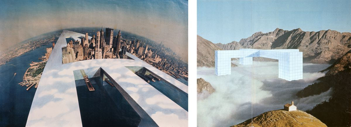 Architectural drawings of massive white graphic structures surrounding New York City, and in the mountains.