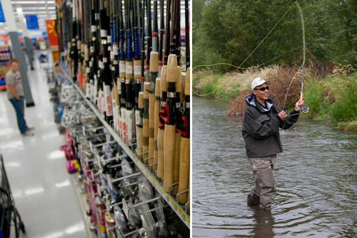"""President Obama can shop for his next fishing pole when he visits <a href=""""http://www.walmart.com/"""">Walmart</a> tomorrow; photo on L via Walmart and on R via the <a href=""""http://www.whitehouse.gov"""">White House</a>"""