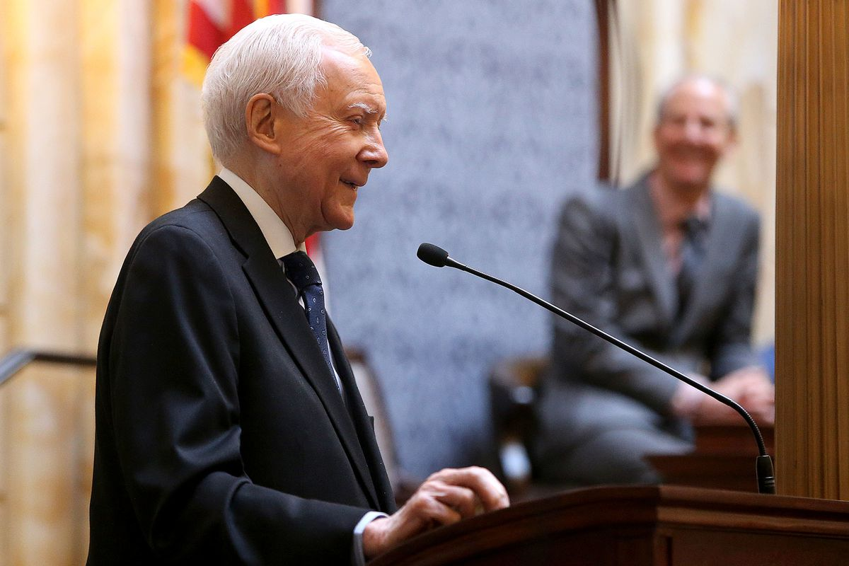 FILE - Sen. Orrin Hatch speaks at the state Capitol in Salt Lake City on Wednesday, Feb. 21, 2018. Hatch had choice words for people who supported the Affordable Care Act during a speech Thursday to the American Enterprise Institute.