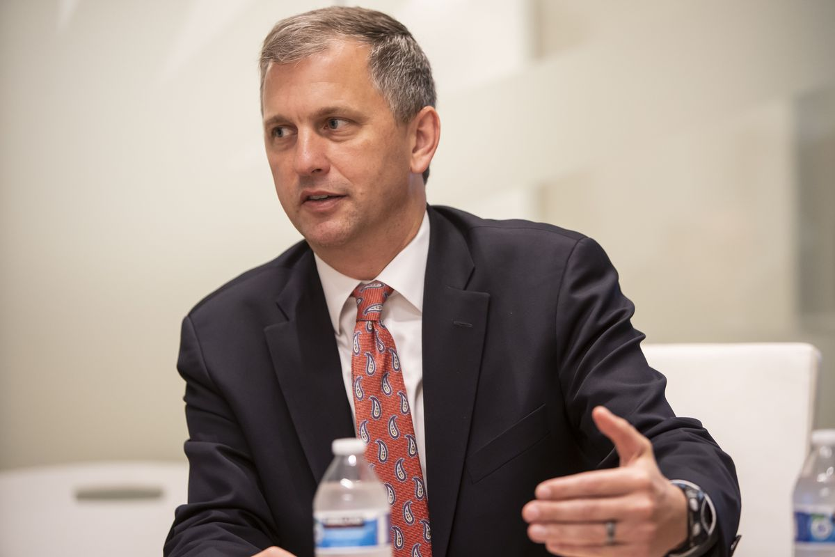 Rep. Sean Casten, D-Ill, of Downers Grove, talks to the Chicago Sun-Times edit board on Thursday.