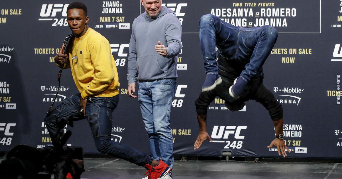 Video: Israel Adesanya, Yoel Romero face off, then dance off at UFC 248 press conference