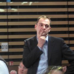 Daniel Humm, there to support James Kent, looks on anxiously as gold is announced.