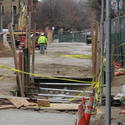 A close up view of the utility work still being done along the Sheffield curb