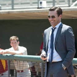 Jon Hamm stars as sports agent J.B. Bernstein in Walt Disney Pictures Million Dollar Arm, the true story of two young men who went from never throwing a baseball to being given a shot in Major League Baseball.