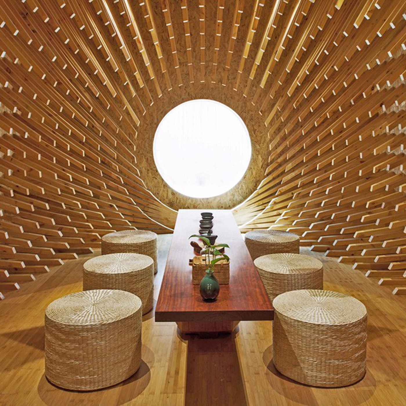 Cocoon Design Bank.Architectural Optical Illusion Turns Plain Room Into A Wooden