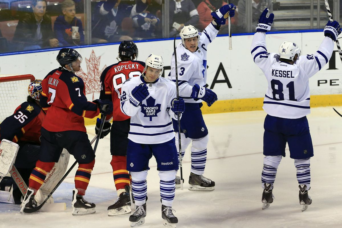 Not maroon and gold and not #26. Still Kessel against a red taem..