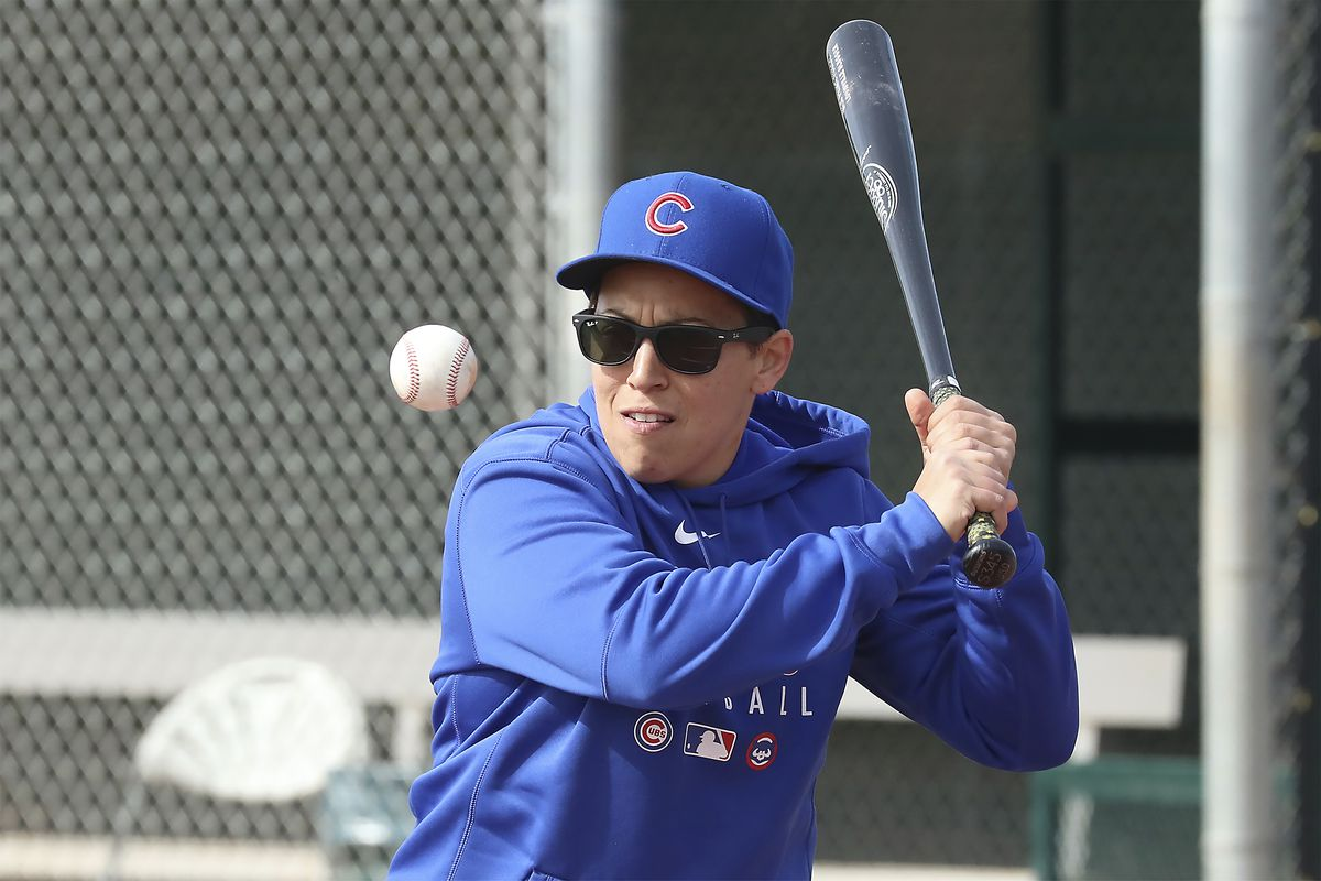 Chicago Cubs minor league hitting coach Rachel Folden hits infield ground balls at the Cubs spring trainng facility in Mesa, Ariz., on Feb. 5, 2020. The coronavirus pandemic has since suspended team activities.