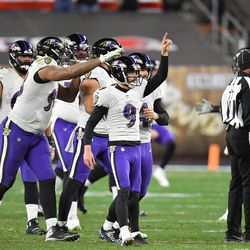 """December 2020: In Week 14, Cleveland and Baltimore put on what many call the game of the year for Monday Night Football. Cleveland was losing 34-20 near the end of the third quarter, but scored two touchdowns, including some help that QB Lamar Jackson disappeared to the locker room with """"cramps.""""At the two minute warning, the Ravens faced a fourth down with their backup, and Cleveland needed one stop to win the game. Like a movie scene, Jackson raced out of the locker room, scrambled, and threw a 44-yard touchdown pass with 1:51 to go. Less than a minute later, Baker responded, hitting Kareem Hunt for a game-tying 22-yard touchdown pass with 1:04 to go. Baltimore still had enough time for K Justin Tucker to hit a 55-yard field goal with two seconds to go, as Baltimore won the crazy shootout 47-42."""