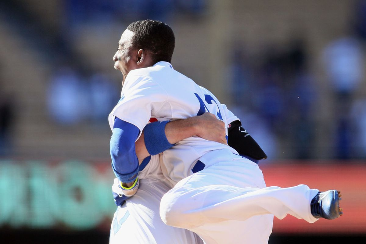 Dee Gordon finds reason to shout that the Dodgers have the best record in baseball.
