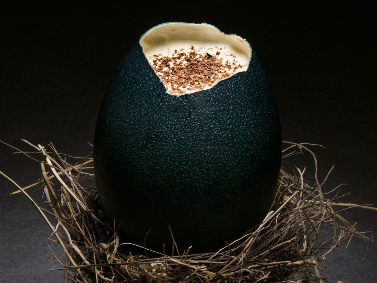 A cracked and green emu egg with a cocktail inside.