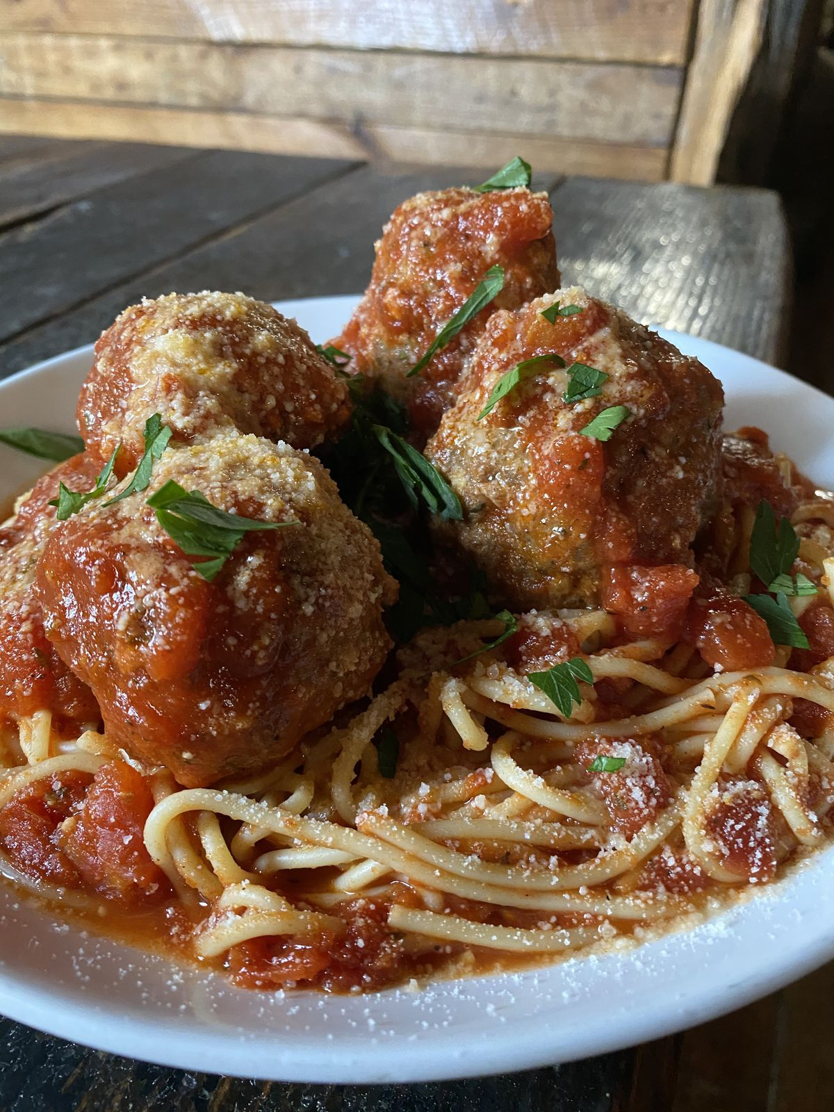 Spaghetti and meatballs from Granville Moore's