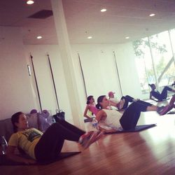 Almost done! A few Pilates moves rounded out the full-body fitness routine.