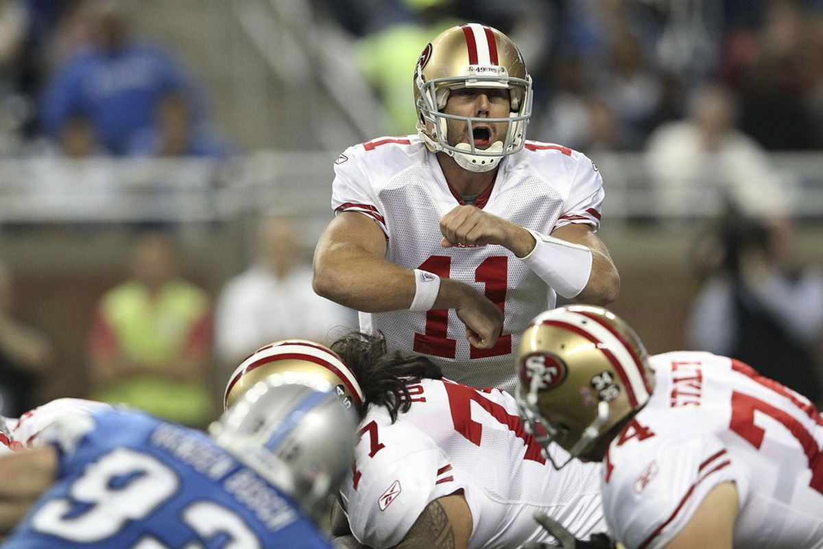 DETROIT, MI - OCTOBER 16:  Alex Smith #11 of the San Francisco 49ers changes the play at the line during the game against the Detroit Lions at Ford Field on October 16, 2011 in Detroit, Michigan.  (Photo by Leon Halip/Getty Images)