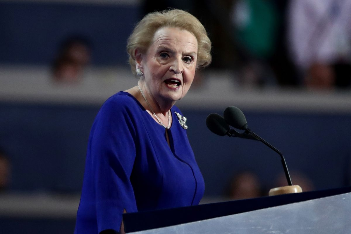 Former Secretary of State Madeleine Albright addresses the convention.