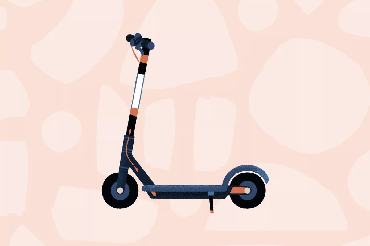 A graphic illustration of a generic black, white, and orange electric scooter, viewed from the side over a pink patterned backdrop.
