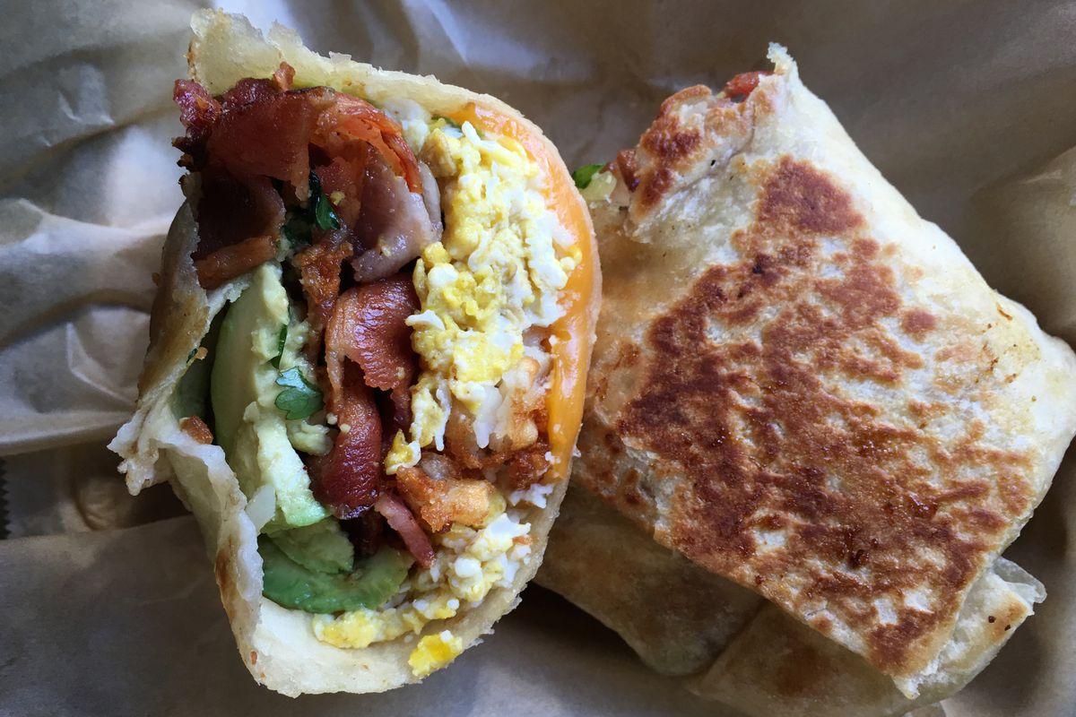 The Rooster's Rico Suave breakfast burrito