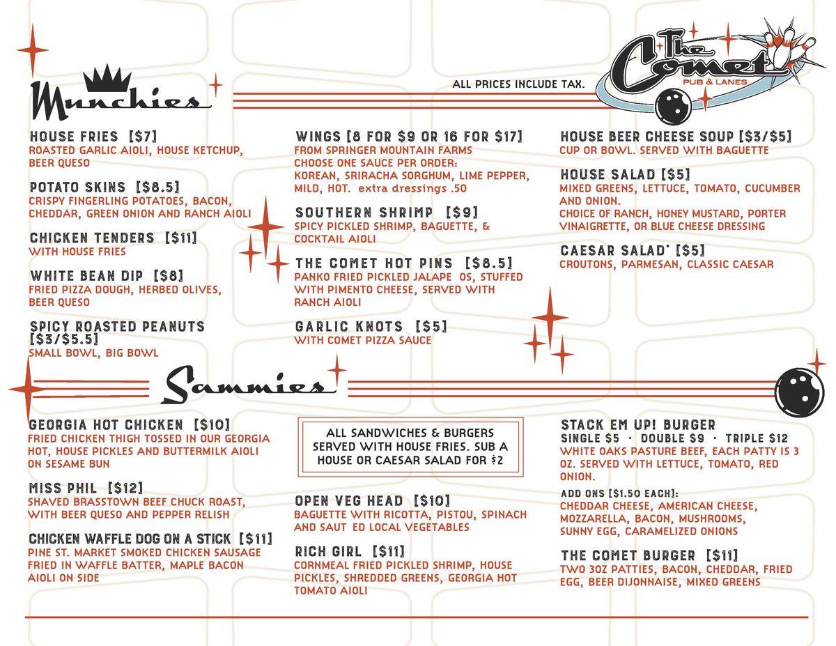 Comet pub lanes menu