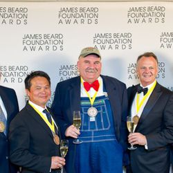 Who's Who of Food and Beverage in America. Check out them overalls! In the center, Farmer Lee Jones of Chef's Garden, Culinary Vegetable Institute and Veggie U. Charles Phan, Chef/Owner The Slanted Door at left, Nick Valenti, CEO, Patina Restaurant Group,